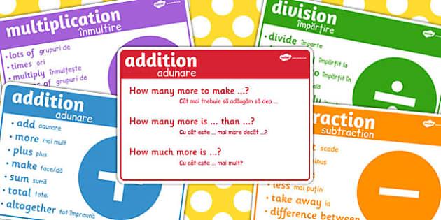Maths Vocab Signs Romanian Translation - vocabulary, numeracy