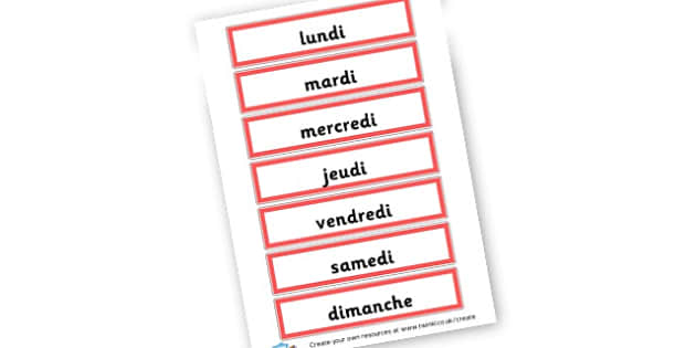 French days of the week - French Days of the Week Primary Resources,French,Languages,Days
