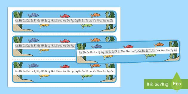 El pez arcoiris Recta alfabética - Bajo el mar, proyecto, caligrafiá, formación de letras, formar letras, escritura, abecedario,Spani