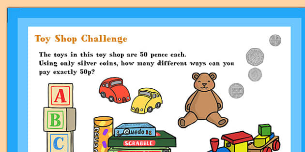 A4 KS1 Toy Shop Maths Challenge Poster - Toy, Maths, Poster