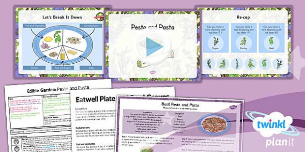 PlanIt - DT LKS2 - Edible Garden Lesson 2: Pesto and Pasta Lesson Pack