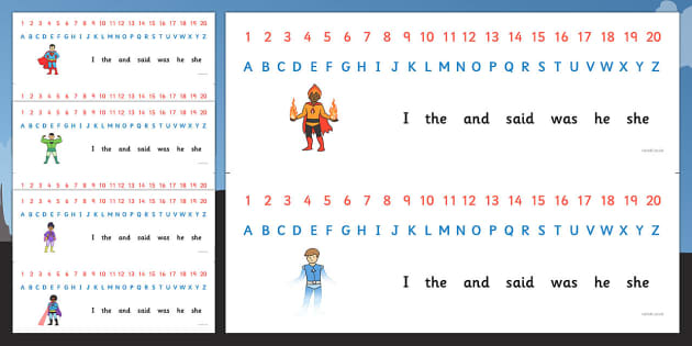 Combined Alphabet and Number Strips (Superhero) - Superhero, Alphabet, Numbers, Writing aid, Superhero, superheroes, hero, batman, superman, spiderman, special, power, powers, catwoman, liono, he-man