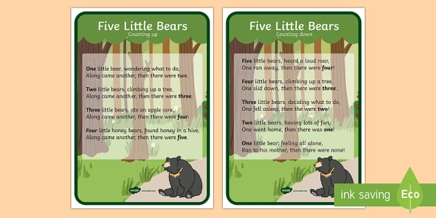 Five Little Bears Display Posters - five little bears, poster