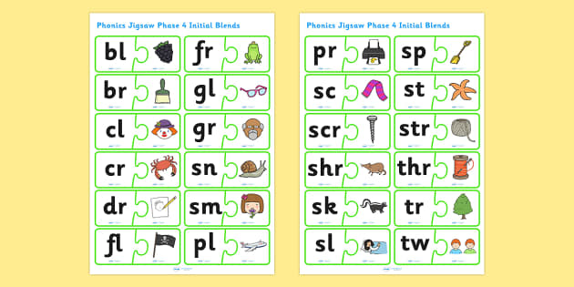 Phonics Jigsaw Phase 4 Initial Blends - phase 4, phase four, phases, phonics, jigsaw, phonics jigsaw, phonics games, phonics activites, games, activities