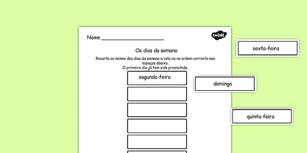 Os dias da semana Cut and Stick Worksheet Portuguese - portuguese, days, week, cut, stick