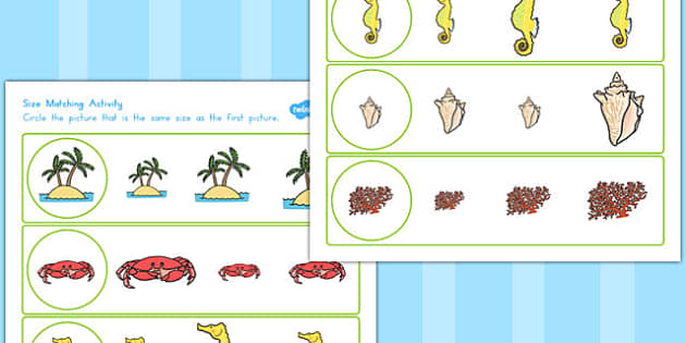 Great Barrier Reef Size Matching Worksheets - australia, match