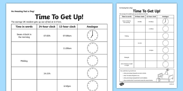 Time To Get Up Activity Sheet - time, 24 hour, 12 hour conversions, home education, fact of the day, worksheet