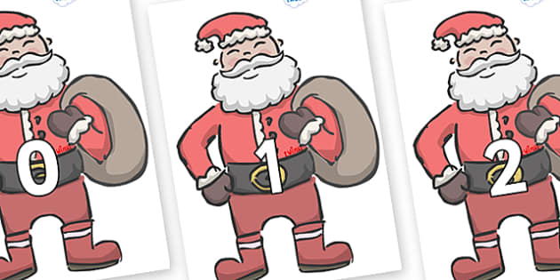 Numbers 0-31 on Santas - 0-31, foundation stage numeracy, Number recognition, Number flashcards, counting, number frieze, Display numbers, number posters