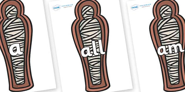 Foundation Stage 2 Keywords on Mummies (Coffin) - FS2, CLL, keywords, Communication language and literacy,  Display, Key words, high frequency words, foundation stage literacy, DfES Letters and Sounds, Letters and Sounds, spelling