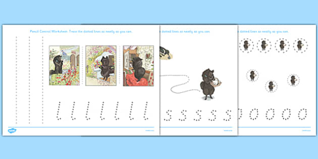 Beatrix Potter - The Tale of the Pie and the Patty Pan Pencil Control Sheets - beatrix potter, pie, patty pan, pencil control