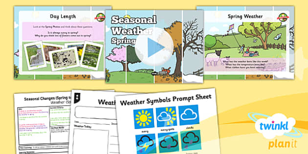 PlanIt - Science Year 1 - Seasonal Changes (Spring and Summer) Lesson 2: Seasonal Weather Spring Lesson Pack - planit