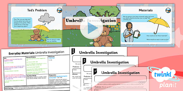 PlanIt - Science Year 1 - Everyday Materials Lesson 5: Umbrella Investigation Lesson Pack