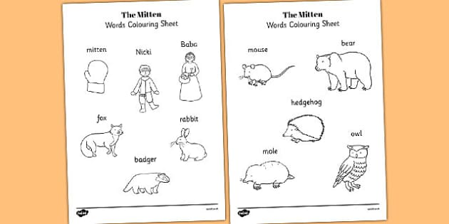 The Mitten Words Colouring Sheet - the mitten, words, colouring