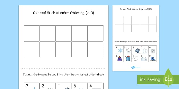 Winter Themed Cut and Stick Number Ordering Sheets 1-10 - number