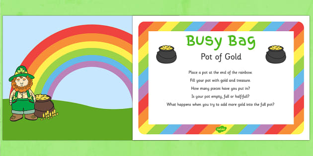 St Patrick's Day Pot of Gold Busy Bag Prompt Card and Resource Pack - St Patrick's Day, Gold, Rainbow