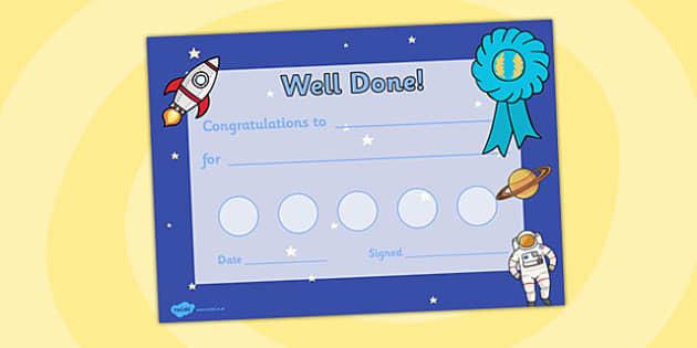 Space Themed Sticker Reward Certificate - space, sticker, reward