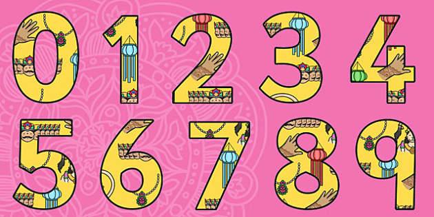 Diwali Themed A4 Display Numbers-diwali, themed, A4, display, numbers, display numbers, diwali numbers, diwali display, A4 numbers, RE, divali, divalli