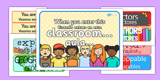 When You Enter this Classroom Display Pack Spanish Translation - spanish, classroom display