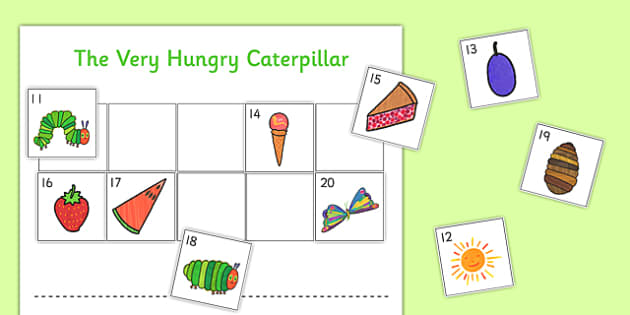 Cut and Stick Number Ordering Sheets 11-20 to Support Teaching on The Very Hungry Caterpillar - the very hungry caterpillar, cut and stick, maths, minibeasts, eyfs, early years, activity, number ordering, number, order, 11-20