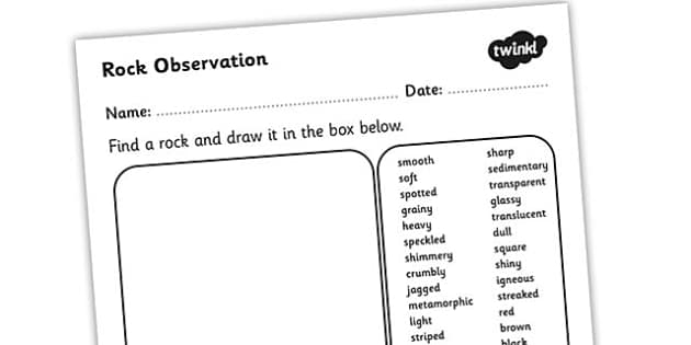 Rock Observation Worksheet - rocks, materials, rocks worksheet, observastion worksheet, rock properties, describing rocks worksheet, types of rock, ks2