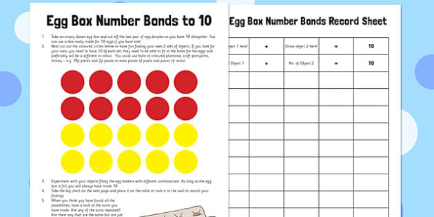 Egg Box Number Bonds to 10 - egg box, number bonds, 10, number