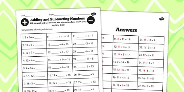 Number Facts Worksheet 15-19 Teens Add One Digit - number, facts