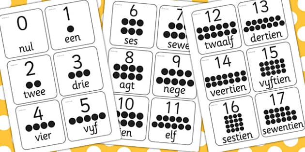 Afrikaans 0-20 Number Flash Cards - afrikaans, flashcards, number