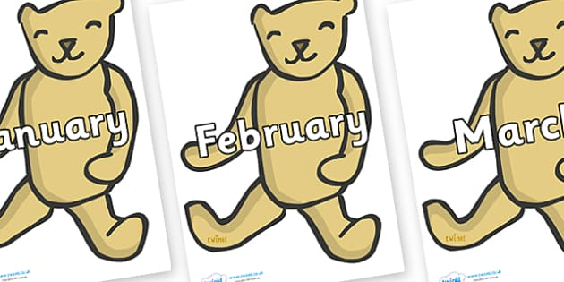 Months of the Year on Old Teddy Bears - Months of the Year, Months poster, Months display, display, poster, frieze, Months, month, January, February, March, April, May, June, July, August, September
