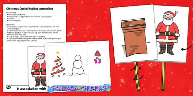 Christmas Optical Illusion Cut Outs - christmas, optical illusion, cut outs, holiday
