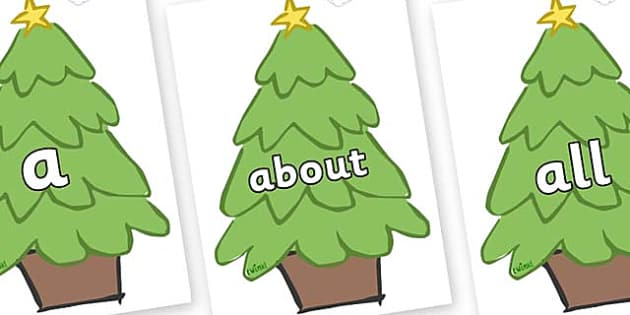 100 High Frequency Words on Christmas Trees (Plain) - High frequency words, hfw, DfES Letters and Sounds, Letters and Sounds, display words