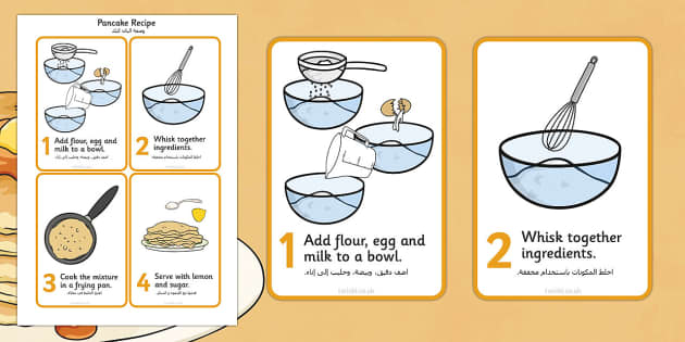 Pancake Recipe Sheet Arabic Translation - arabic, Pancake day, recipe, pancake, shrove Tuesday, pancakes, recipe card, making pancakes, display poster, recipe information