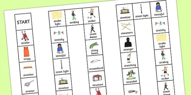 Two Syllable STR Board Game - sen, sound, str sound, str, two syllable, board game