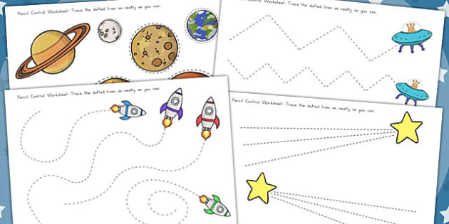 Space Themed Pencil Contol Worksheets - Worksheet, Motor, Skills