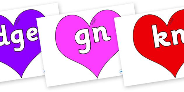 Silent Letters on Hearts (Multicolour) - Silent Letters, silent letter, letter blend, consonant, consonants, digraph, trigraph, A-Z letters, literacy, alphabet, letters, alternative sounds