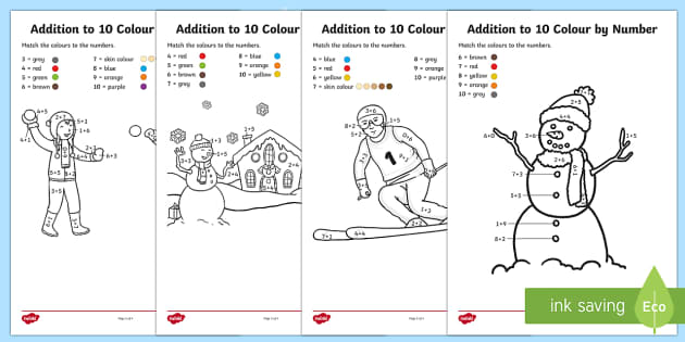 Winter Themed Addition to 10 Colour by Number Activity Sheet