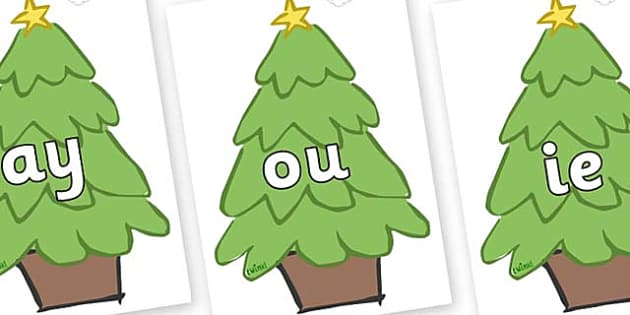 Phase 5 Phonemes on Christmas Trees (Plain) - Phonemes, phoneme, Phase 5, Phase five, Foundation, Literacy, Letters and Sounds, DfES, display