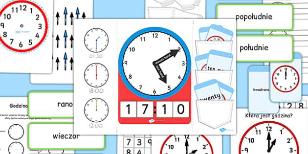 Lapbook Podawanie godziny po polsku - czas, zegar - polish, lapbooks, pack, time
