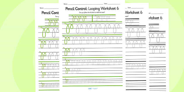 Pencil Control Looping Worksheet 6 - pencil control, looping