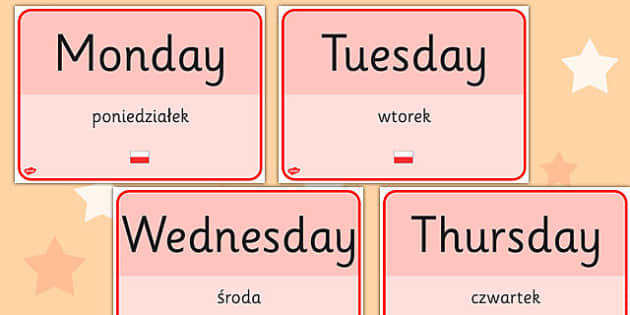 Days of the Week Signs EAL Polish Translation - language, display