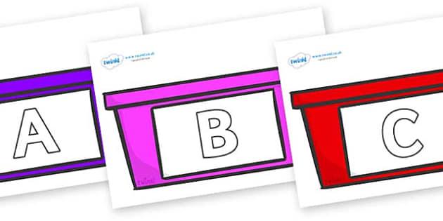A-Z Alphabet on Trays - A-Z, A4, display, Alphabet frieze, Display letters, Letter posters, A-Z letters, Alphabet flashcards