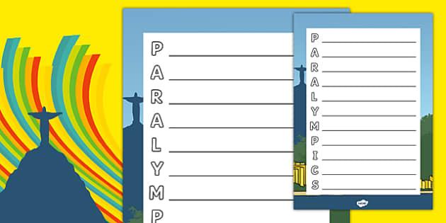 Paralympics Acrostic Poem