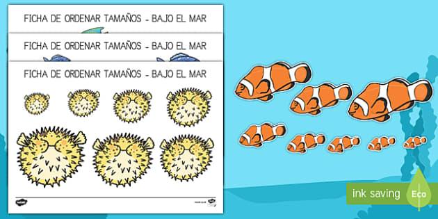 Bajo el mar Ordenar tamaños
