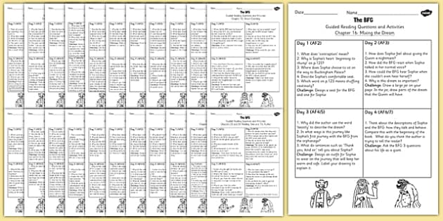 Guided Reading Pack to Support Teaching on The BFG - guided reading, pack, bfg, reading