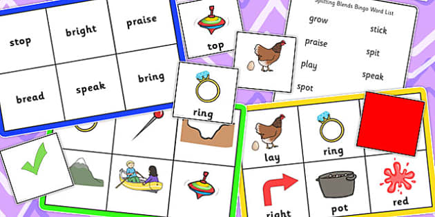 Splitting Blends Bingo - splitting, blends, bingo, pack, game