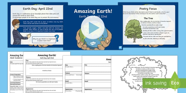 Earth Day Poetry Activity Pack - KS1 & KS2 Earth Day (April 22nd), writing, non-fiction, poetry, description, simile, trees, environm