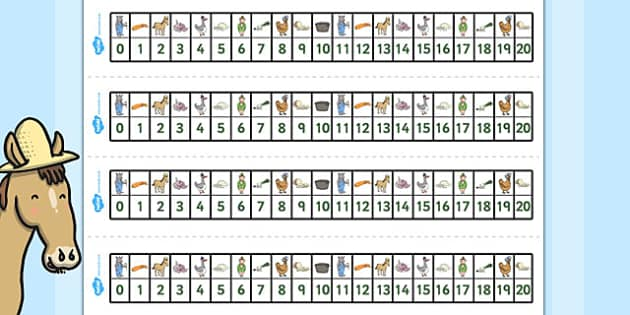 Number Track 1-20 to Support Teaching on What's The Time, Mr Wolf? - Numbers, Visual