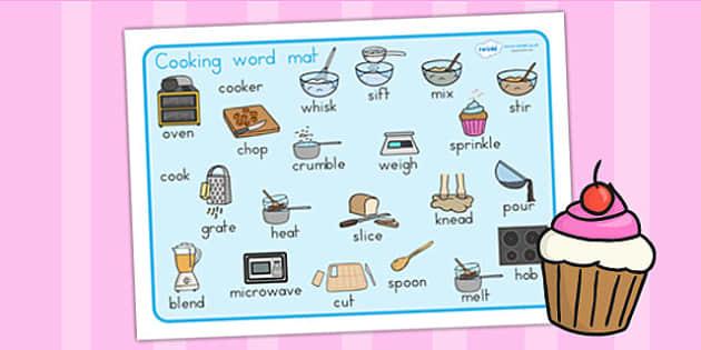 Cooking Word Mat - cook, cooking, food, visual aid, keywords