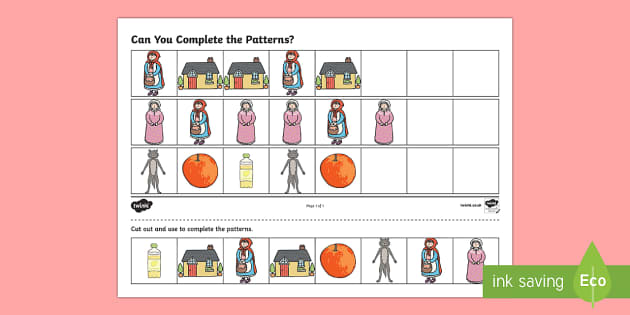 Little Red Riding Hood Complete the Pattern Worksheets - pattern
