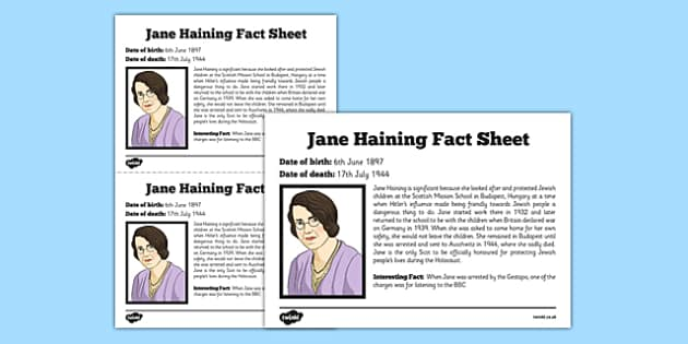 Scottish Significant Individuals Jane Haining Fact Sheet - Scottish significant individual, Christian, missionary, Holocaust, Jewish, Auschwitz