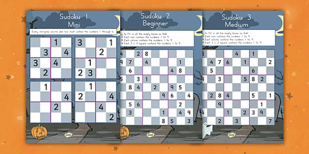 Halloween Sudoku - spooky, fun, games, filler, maths, numbers, numeracy, adding, counting, challenge, activity, quick